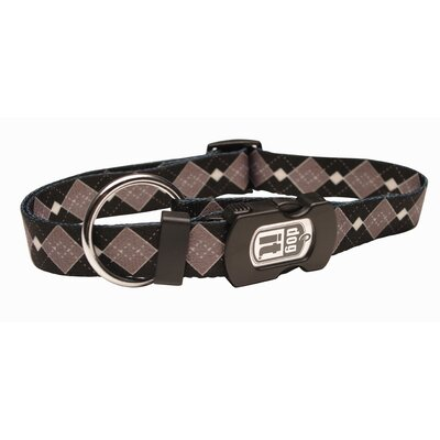 Dogit Style Argyle Adjustable Nylon Dog Collar with Plastic Snap and ID Plate