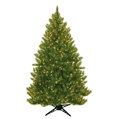 General Foam Plastics Evergreen Fir Prelit Christmas Tree with 450 Clear Lights