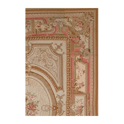 American Home Rug Co. Grandeur Gold/Coral Needlepoint Aubusson Rug/Tapestry