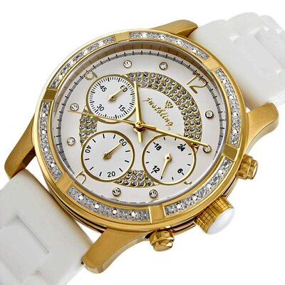 JBW Women's Venus Diamond Bezel Watch in White with White Dial