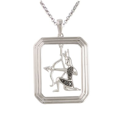 Élan Jewelry Starry Nights Sterling Silver and Black Diamond Sagittarius Star Sign Dog Tag Pendant