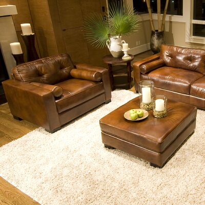 Soho Top Grain Leather Chair and Ottoman