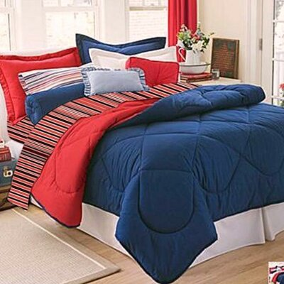 10-Piece Twin XL-Size Dorm Room in a Box in Navy / Red