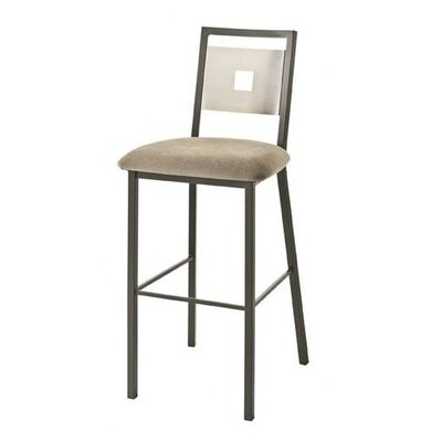 "Amisco Jackson 26"" Swivel Stool with Stainless Steel Backrest"