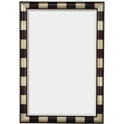 Contemporary Beveled Mirror in Mahogany and Silver