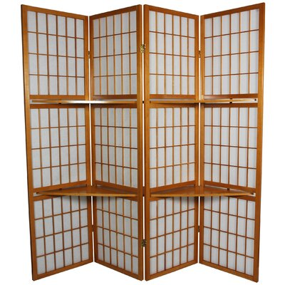 Oriental Furniture 65&quot; Window Pane Room Divider with Shelf in Honey