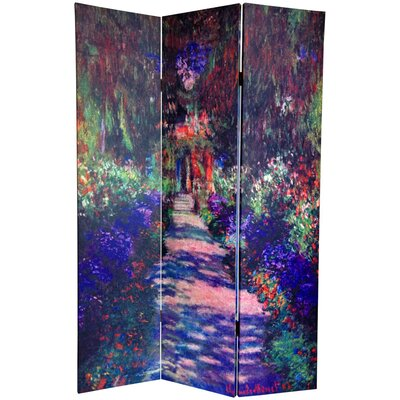 Oriental Furniture 6 Feet Tall Double Sided Works of Monet Canvas Room Divider with Three Panels