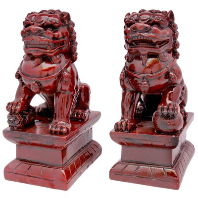 Oriental Furniture 6&quot; Fu Dog Statues in Deep Burgundy