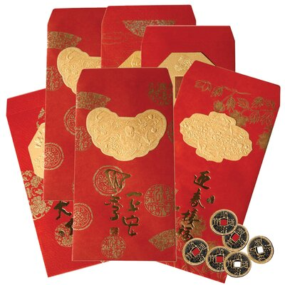 Oriental Furniture Lucky Envelopes with Coins (Set of 3)