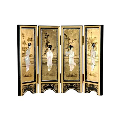 Oriental Furniture Mini Lacquer Screen in Gold