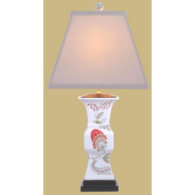 Oriental Furniture Porcelain Floral Vase Table Lamp