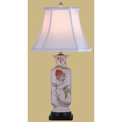 Oriental Furniture Porcelain Lotus Floral Table Lamp