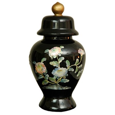 "Oriental Furniture 11"" Birds and Flowers Temple Jar"