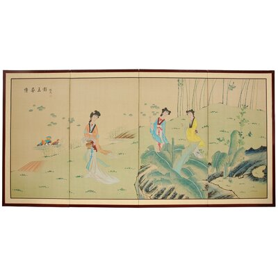 "Oriental Furniture 36"" Ladies In The Garden Silk Screen with Bracket"