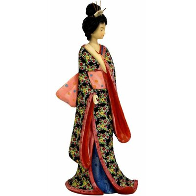 "Oriental Furniture 14"" Geisha Figurine with Pastel Sash"
