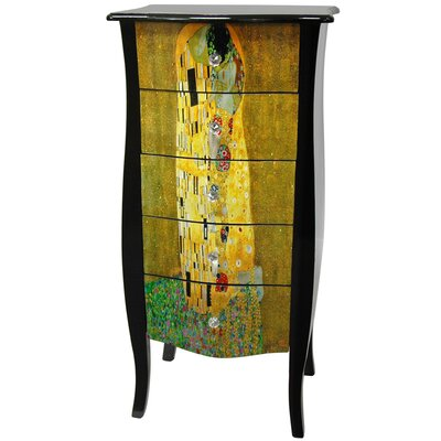 "Oriental Furniture Klimt ""The Kiss"" 5 Drawer Lingerie Cabinet in Lacquer"