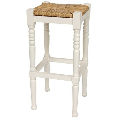 "Oriental Furniture 29"" Classic Woven Top Barstool in White"