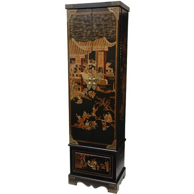Oriental Furniture Tall Floor Jewelry Armoire in Black Lacquer
