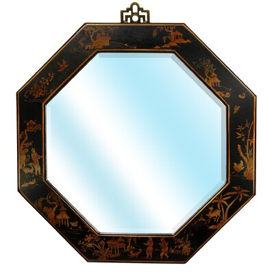 Octagonal Wall Mirror in Black Lacquer