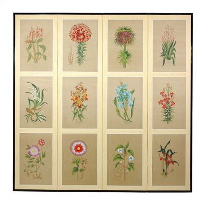 Oriental Furniture Twelve Small Flowers Folding Silk Room Divider