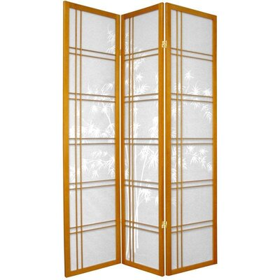 "Oriental Furniture 72"" Double Crossed Bamboo Tree Room Divider in Honey"