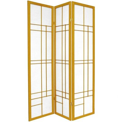 "Oriental Furniture 72"" Eudes Decorative Paned Room Divider in Honey"