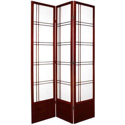 "Oriental Furniture 78"" Double Cross Design Room Divider in Rosewood"