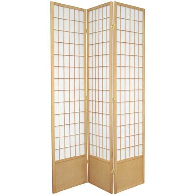 "Oriental Furniture 78"" Window Pane Decorative Room Divider in Natural"