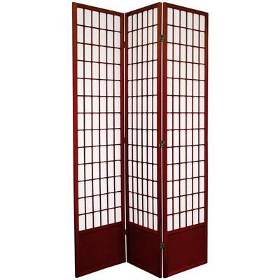 "Oriental Furniture 78"" Window Pane Decorative Room Divider in Rosewood"