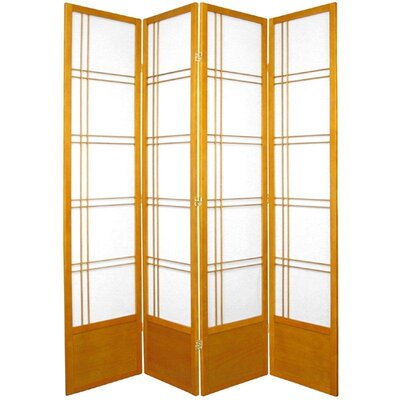 "Oriental Furniture 78"" Double Cross Design Room Divider in Honey"