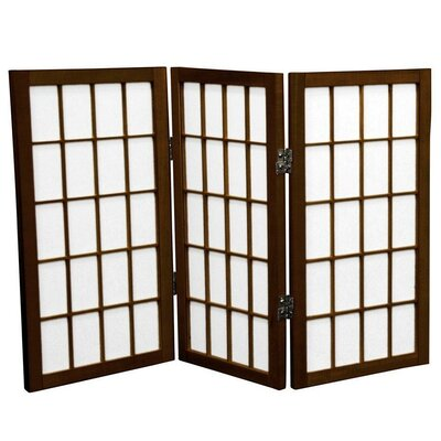 Oriental Furniture 2 Feet Tall Desktop Window Pane Shoji Screen in Walnut