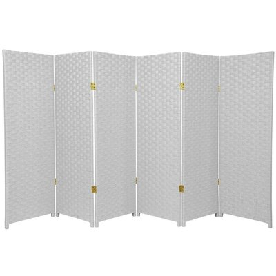 Oriental Furniture Tall Woven Fiber Room Divider in White