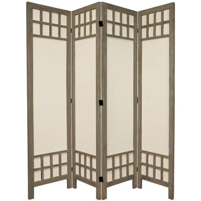 Oriental Furniture 6 Feet Tall Window Pane Fabric Room Divider in Burnt Grey