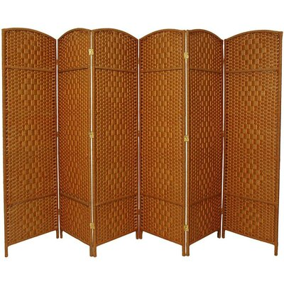 Oriental Furniture 6 Feet Tall Diamond Weave Fiber Room Divider in Dark Beige