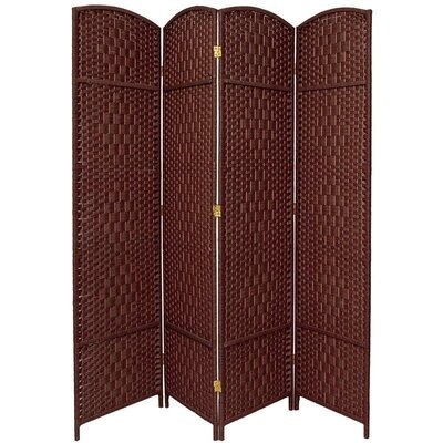 Oriental Furniture Diamond Weave 4 Panel Room Divider in Dark Red