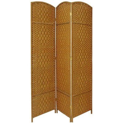 Oriental Furniture Diamond Weave 3 Panel Room Divider in Light Beige