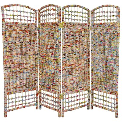 Oriental Furniture 48&quot; Recycled Magazine 4 Panel Room Divider