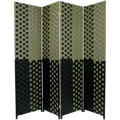 Oriental Furniture Woven Fiber 4 Panel Room Divider in Olive and Black