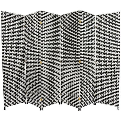 Woven Fiber 6 Panel Room Divider in Black and White