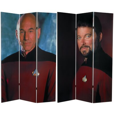 Tall Double Sided Star Trek Picard and Riker Canvas Room Divider