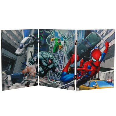 Oriental Furniture Tall Double Sided Friendly Neighborhood Spider-Man Canvas Room Divider