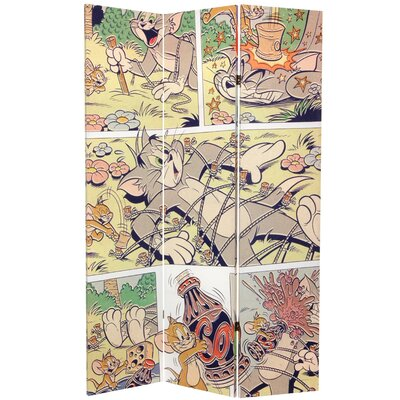Oriental Furniture Tall Double Sided Tom and Jerry Canvas Room Divider