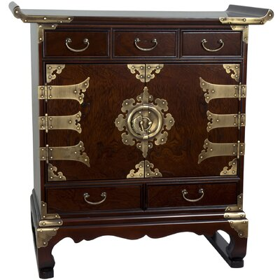 Korean 5 Drawer End Table Cabinet