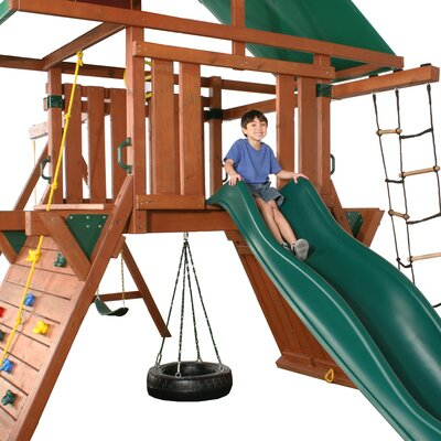 "Swing-n-Slide 147"" x 127"" Athena Redwood Premier Swing Set"