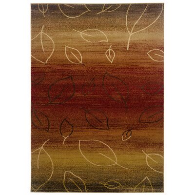 LR Resources Adana Cherry/Light Brown Striped / Leaf Motifs Rug