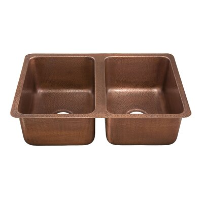 Monterosso Hand Hammered Copper Double Bowl Kitchen Sink