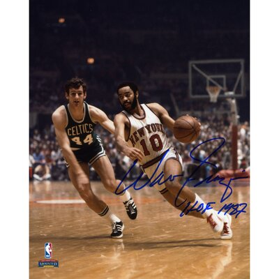 "Mounted Memories Walt Frazier New York Knicks Autographed vs Boston Celtics Photograph with ""HOF 1987"" Inscription"