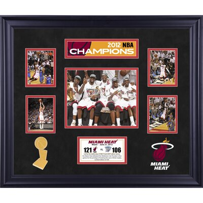 Miami Heat Framed 5 Photographs 2012 NBA Champions Victory Collage