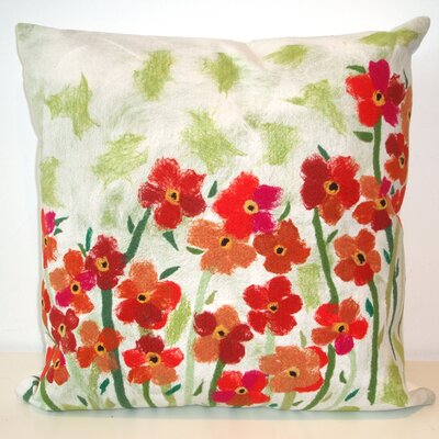 Liora Manne Poppies Square Indoor/Outdoor Pillow in Red