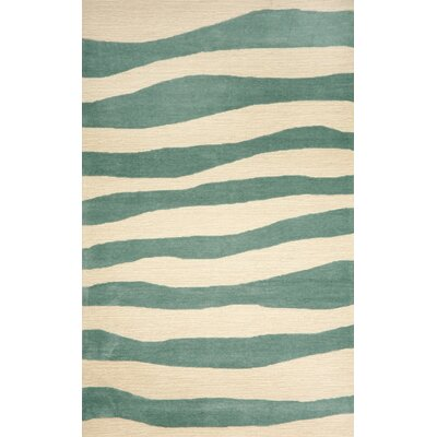 Liora Manne Spello Wavey Stripe Aqua Outdoor Rug